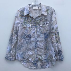 Chicos Paisley Button Down Shirt Size 1 #1324